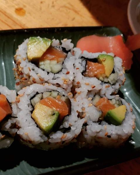 avocado salmon sushi